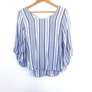 Anthropologie Drew Vertical Striped Knot Back Top Sz S